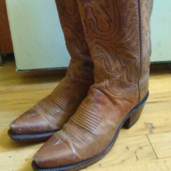 a4985910f Vintage Shoes | Lucchese 1883 Brown Leather Cowboy Boots | Poshmark