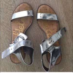 Silver Sam Edelman Trina metallic sandals 7.5