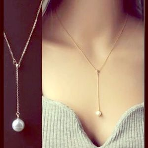 Jewelry - 🆕 SILVER PEARL DROP LARIAT NECKLACE