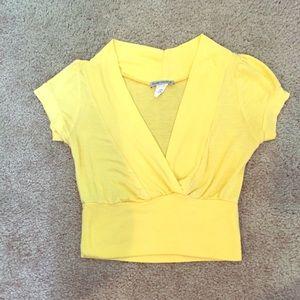 Tops - Yellow plunge neckline half top