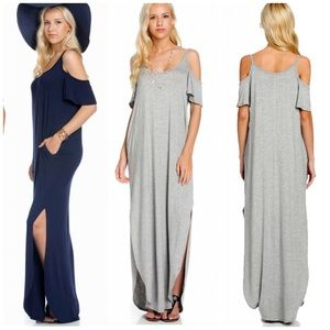 Vivacouture Dresses & Skirts - Last one ! Cold shoulder Maxi Dress Shirtdress