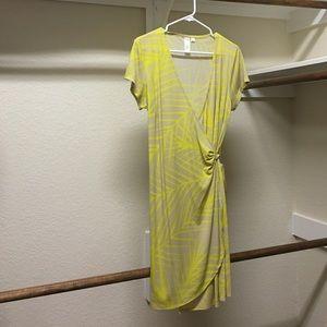 Tan and Yellow Wrap dress