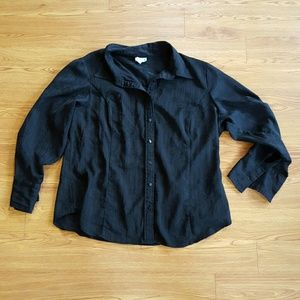 East 5th Tops - East 5th Woman 1X Black Button Down