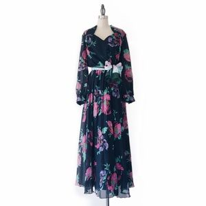 VINTAGE | 70s Black Floral Sheer Pleated Gown