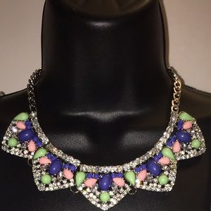 Lace and Happiness Jewelry - Vy - Multi-color and Silver Statement Necklace