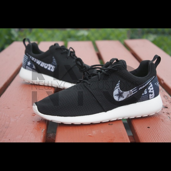 Dallas Cowboys Nike Roshe One Black White Custom