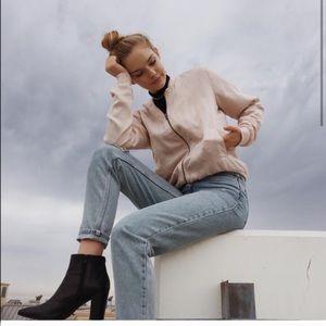 Brandy Melville pink silky Dennis bomber jacket