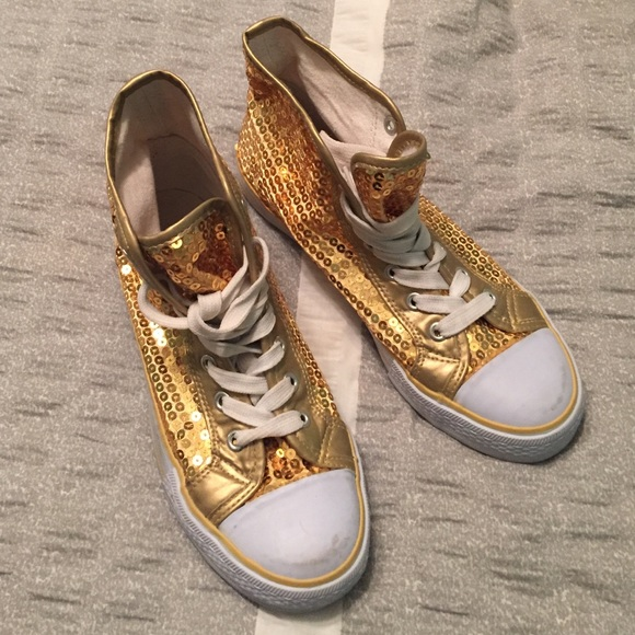Balera Shoes   Gold Sequin Sneakers