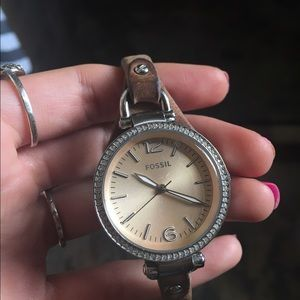 Fossil Georgia leather watch