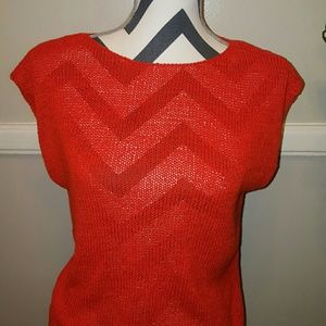 Old Navy Red open-knit sweater.