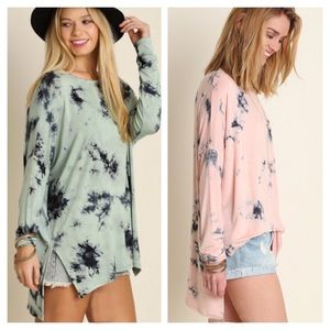 Tops - 🌺HP 10/9🌺MINT OR PINK TIE DYE OVERSIZE SHIRT