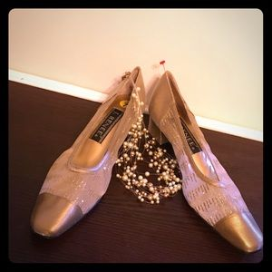 J. RENEE LEATHER GOLD SHOES