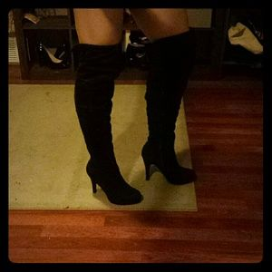 Boots: Brown Suede-like Above the Knee
