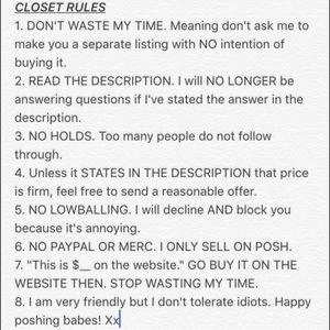 CLOSET RULES....