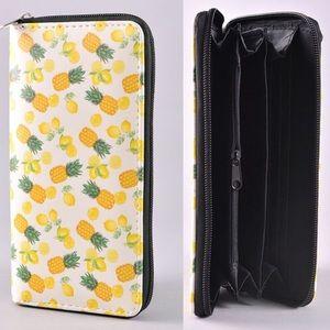 Handbags - Pineapple and Lemon Print Zipper Wallet