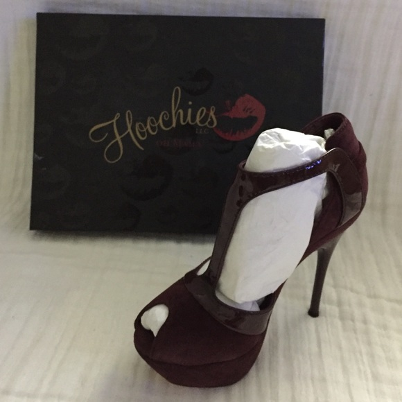 2680f3530f1b Hoochies Shoes - New!! Wine colored strappy peep toe pumps