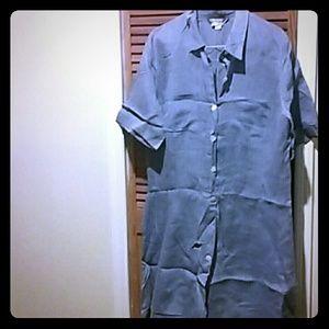Marina Rinaldi Dresses & Skirts - Marina Rinaldi blue linen shirtdress, size 30W