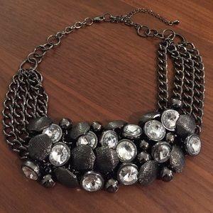 Jewelry - Hematite Rhinestone Cluster Statement Necklace