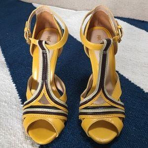 L.A.M.B. Shoes - L.A.M.B. Yellow t-strap sandals
