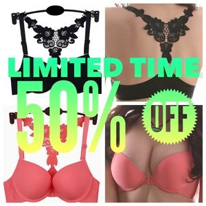 Other - ‼️SALE‼️💟 Lacy Razor-back Push-up Bra - Pink 34B