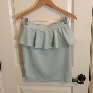 Mint Peplum Mini Skirt