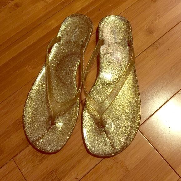 2b8de6446 Gold glitter jelly flip flops. M 575b9ee913302afa6c011b84