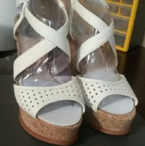HOST PICK Vince Camuto White Cork Wedge Sandals