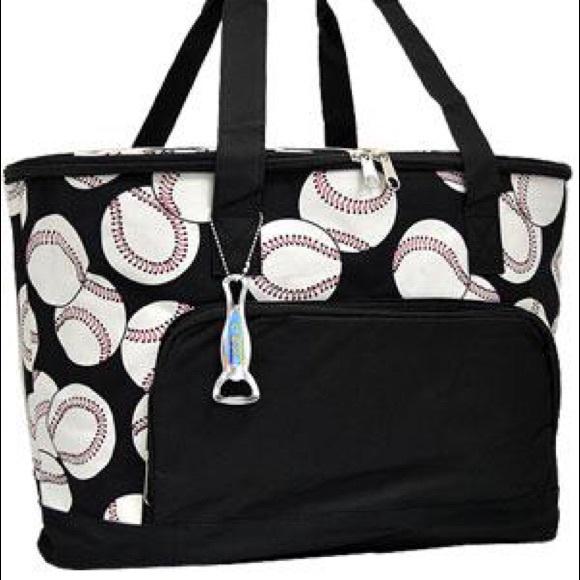 b31c39796e1f Baseball print cooler tote bag