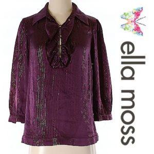 Ella Moss Tops - Ella Moss Anthropologie Silk Purple Gold LS Top