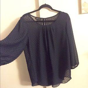 AB Studio Tops - AB Studio, see-through navy boho blouse.