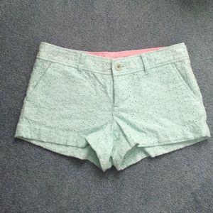Lilly Pulitzer mint green eyelet Walsh shorts