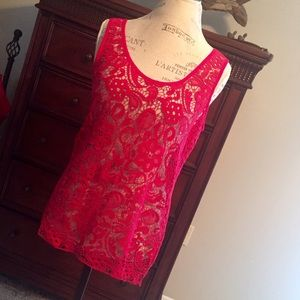 NWOT Sexy Hot Pink crochet Boutique Tank Style Top