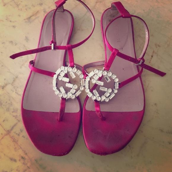 8110bade6c683b Gucci Shoes - Gucci red satin flat sandal. Crystal GG logo. Worn