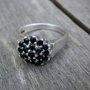 Sterling Silver & Fauceted Black Rhinestones Ring