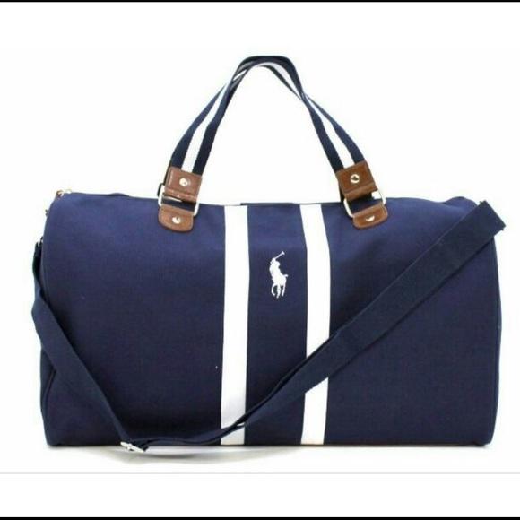 2dd82bf850f3 Polo Ralph Lauren blue white duffle bag. M 575c2f06f09282e35801b058