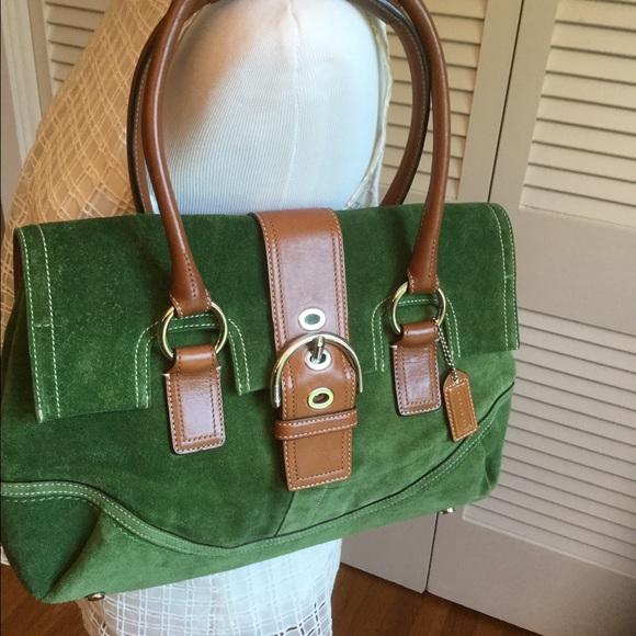 Coach Handbags - Kelly Green Suede Coach Purse - Perfect Condition 670cec82af
