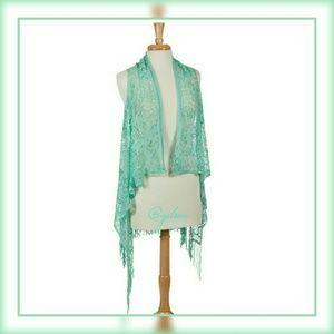 Mint crochet cardigan vest