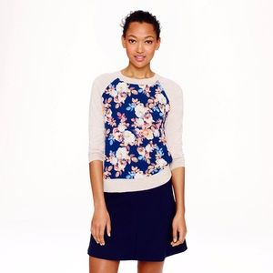 NEW J. Crew Silk Panel Sweater in Antique Floral