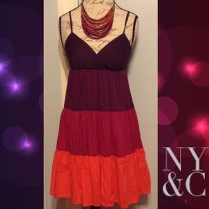 NEW YORK & CO Purples Color Blocked Dress