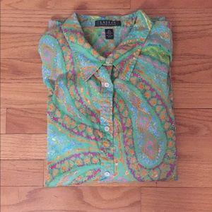 Lauren Ralph Lauren Paisley Button Down Shirt
