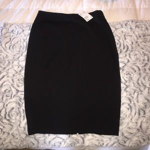 Black midi pencil skirt