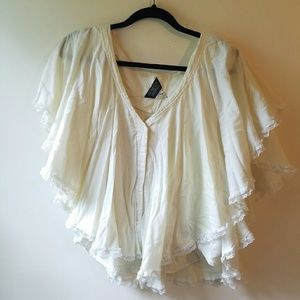Seneca Rising Tops - White Bohemian Inspired Top With Lace and Studs