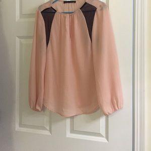 New Zara peach and black top