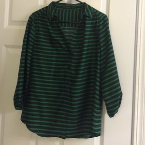 Green and navy stripes limited top