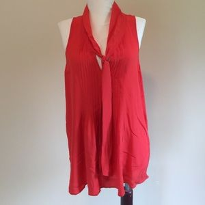 Theory Tops - Theory 100% silk orange pleated shirt top blouse M