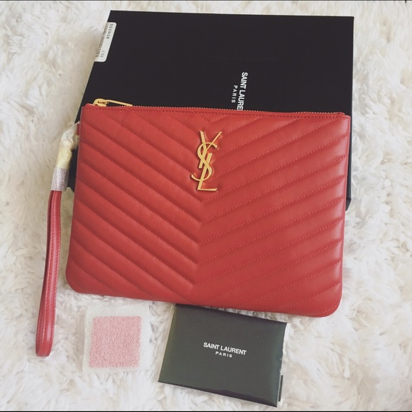 Saint Laurent Red Quilted Monogram Zip Pouch 1d5d99dc9b0f3