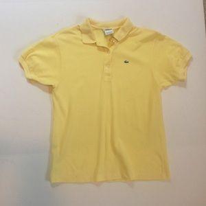 Lacoste Tops - Lacoste yellow pique polo shirt. Size 38.