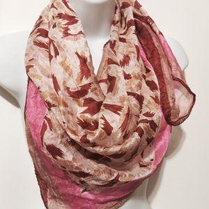 """Vintage Accessories - Vintage """"Tissue"""" Pink Printed Silk Scarf"""