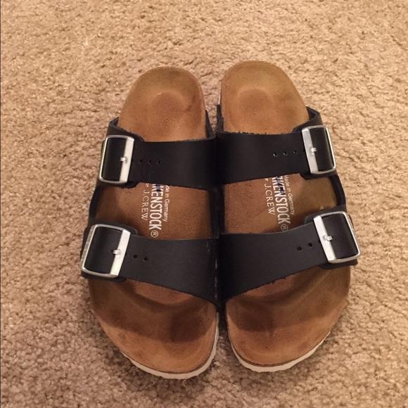 39c0669f9adf Birkenstock Shoes - Black Birkenstocks- size 39 with white bottoms