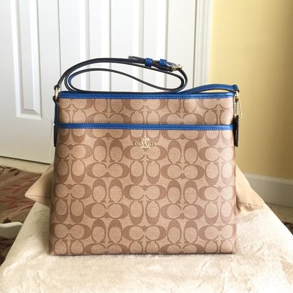 10bd1f60175b Authentic Coach Signature File Crossbody Bag